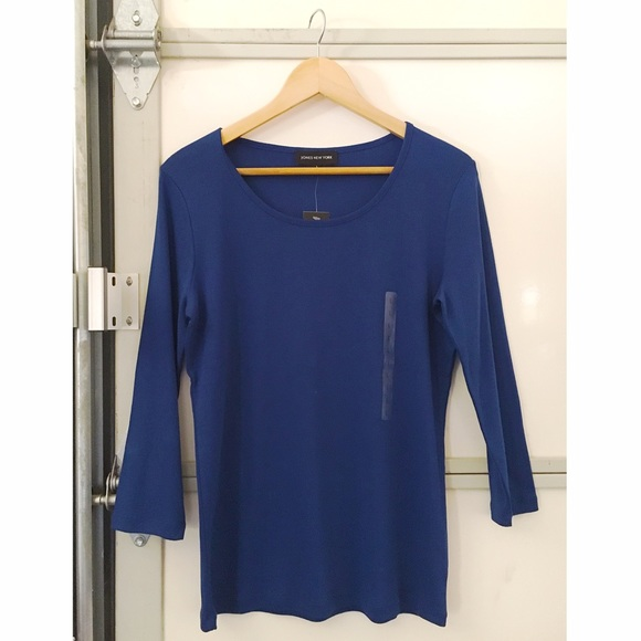 Jones New York Tops - *NEW* Royal blue stretchy knit 3/4 sleeve top