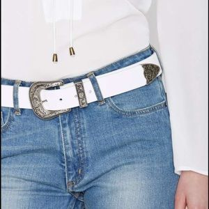 B-Low the Belt Accessories - B-Low The Belt Frank White Leather Belt sz L
