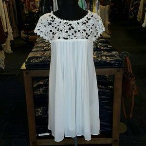 Double Zero Dresses & Skirts - Double Zero Flower Lace mini Dress White