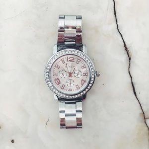 Geneva Platinum Accessories - New! Silver & Rhinestone Stainless Steel Watch