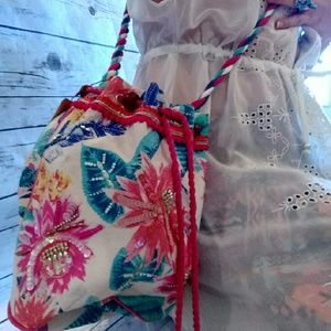 Monsoon Handbags - Boho floral drawstring pouch crossbody