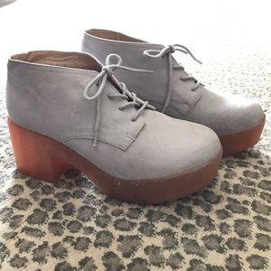 New ASOS grey suede platform shoe