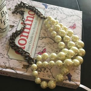 J. Crew Jewelry - J. Crew chunky twisted pearl and chain necklace