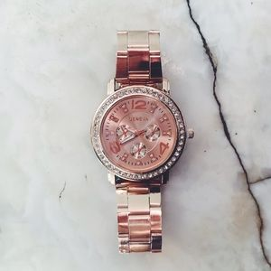 Geneva Platinum Accessories - New! Rose Gold & Rhinestone Stainless Steel Watch