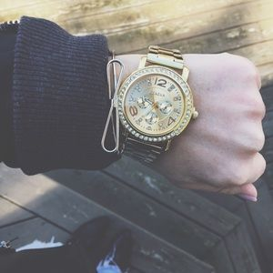 Geneva Platinum Accessories - New! Gold & Rhinestone Stainless Steel Watch