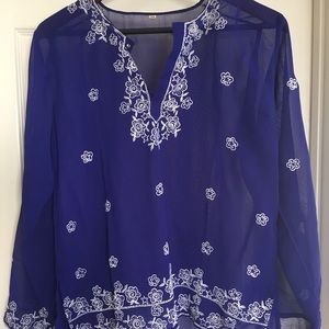 Tops - Gorgeous 1 of a kind royal blue boho sheer blouse