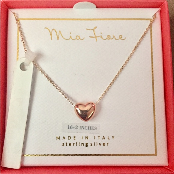 49 off Mia Fiore Jewelry New Rose Gold Puffed Heart Ss Necklace