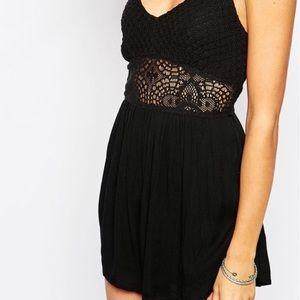 Abercrombie & Fitch Pants - black crochet lace romper