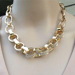 💜New Stunning Gold & Diamonds Chunky Necklace