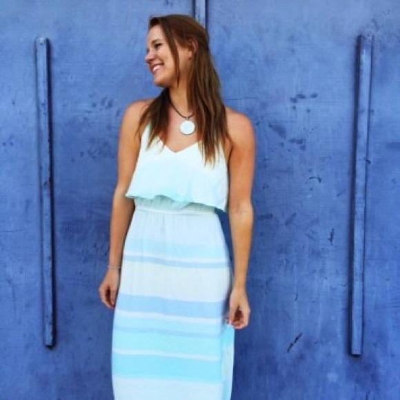 Green stripe maxi dress