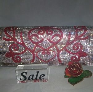 Ladies red  clutch  with rhinestones