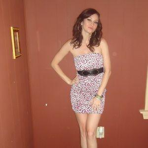 urban vibe Dresses & Skirts - Pink cheetah print dress with belt