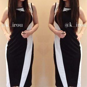 Black and whit sleeveless midi dress