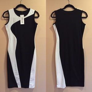 Finejo Dresses & Skirts - Black and whit sleeveless midi dress