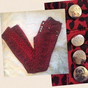Tripp nyc Denim - Tripp NYC Leopard Skinny Jeans skull buttons 0