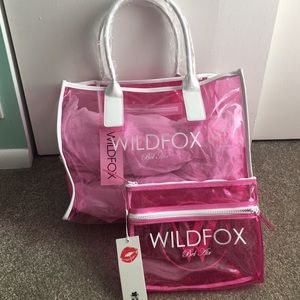 Wildfox Handbags - NWT Wildfox clear pink tote & clutch set