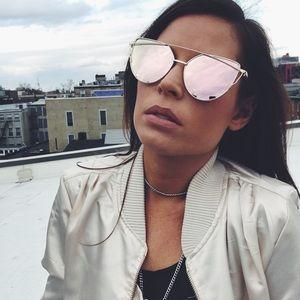 Emma Rose Gold Cat Eye Mirror Sunnies Sunglasses