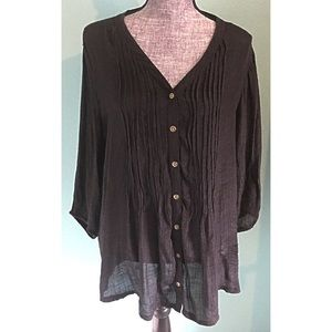 Dress Barn Tops - Dress Barn Woman Black Gauze Tunic Top Sheer 2X
