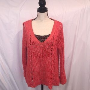 Free People V Neck Chunky Coral Sweater