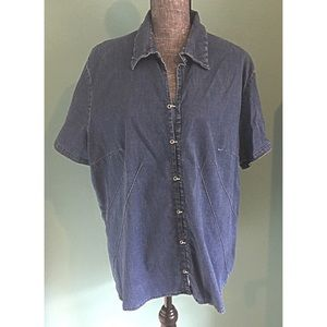 Stretchy Denim Chambray Shirt 20 Short Sleeve plus