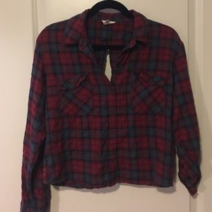 Red cropped flannel