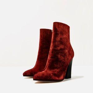 SALE! ❤ Zara Merlot Velvet Booties