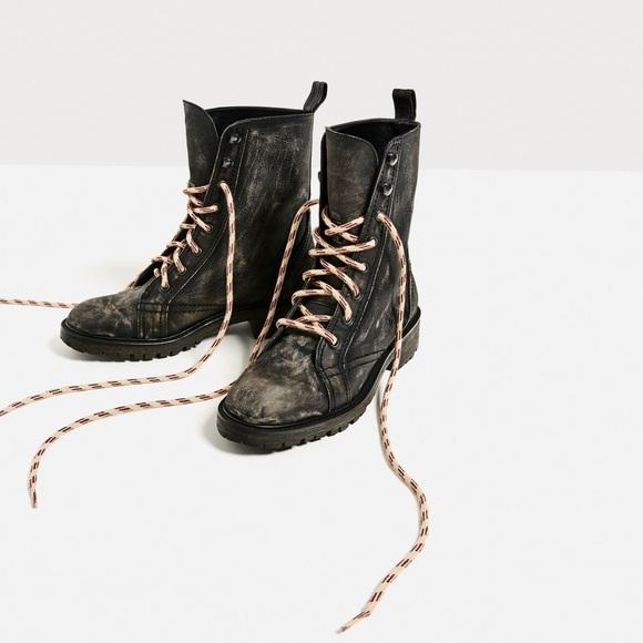 f2e4d72b02 SALE! 💐 Zara Distressed Leather Combat Boots NWT