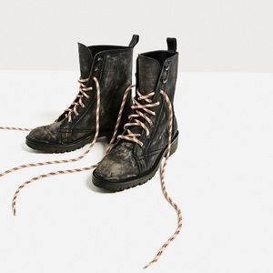 SALE! ❄️ Zara Distressed Leather Combat Boots