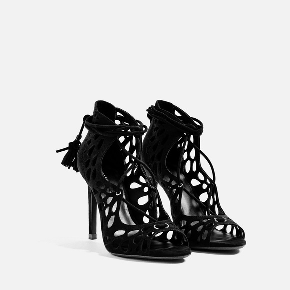 924f182fe13 Zara Lace Up Tassel Heels. NWT