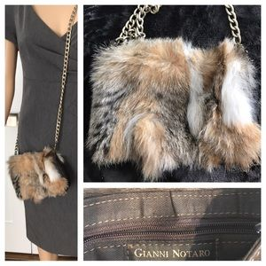 9eed5057a6 Gianni Notaro Bags - Leather Small Bag with a Real Fur Made in Italy