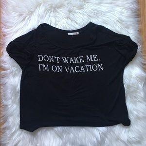 Papaya Tops - I'm On Vacation Black Crop Top