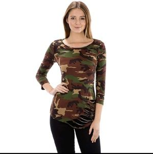 blossom  Tops - Sale! Last one! Destroyed super soft camo t-shirt
