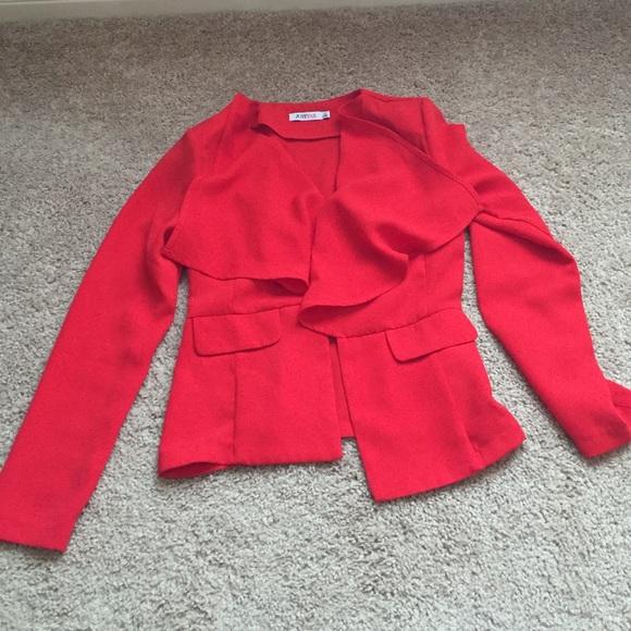 450ed7f8 JustFab Jackets & Blazers - JustFab fiery red ruffle front blazer, EUC, ...