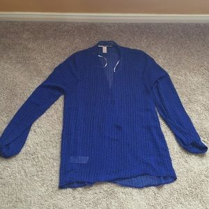 Forever 21 NWOT sheer blue faux wrap blouse, XS