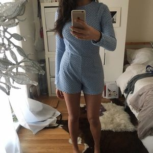 Missguided Pants - Long sleeved blue romper
