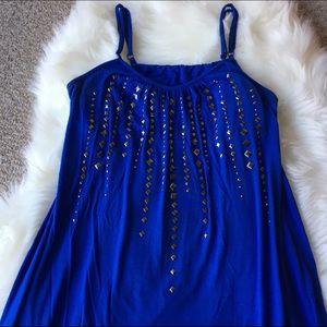 Dresses - Purple Thin Strap Mini Dress - Size: Large