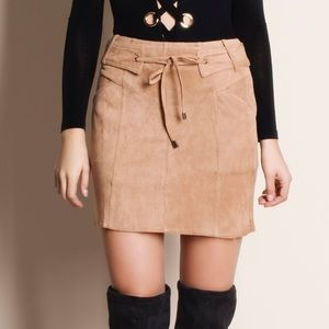 Belted Tie Front Suede Skirt