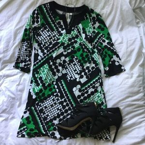 Soho Apparel Dresses & Skirts - Green and black pattern dress