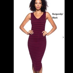 Callie Lives Dresses & Skirts - Burgundy & Black Striped Midi Dress w Hoody