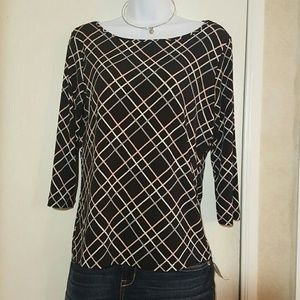 Style & Co Tops - Boatneck Plaid Striped Top Shirt Black Pink Style