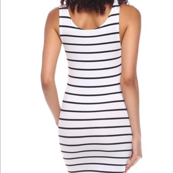 Callie Lives Dresses - White Black Stripes Tank Bodycon t-shirt Dress
