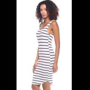 Callie Lives Dresses & Skirts - White Black Stripes Tank Bodycon t-shirt Dress