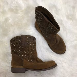 Kenneth Cole Reaction Shoes - Kenneth Cole Reaction Moto Cross Brown Stud Boots