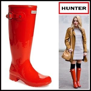 Hunter Boots Shoes - HUNTER ORIGINAL RAIN BOOTS Tall Glossy Boots