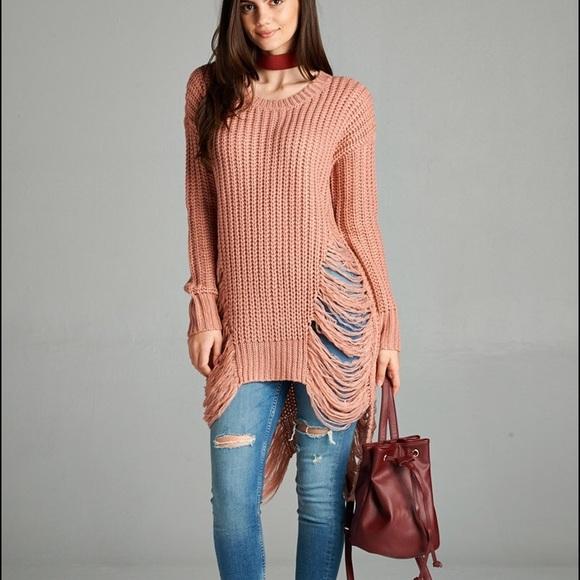 a89c8244b29 Miranda Distressed Knit Sweater Top 💕