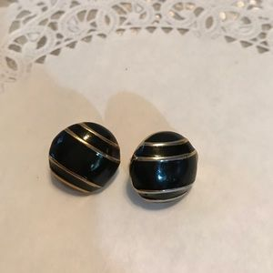 Monet Jewelry - Vintage Monet black enamel and gold