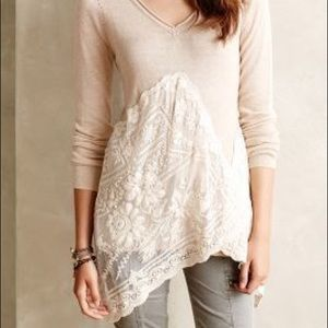 Angel of the North Sweaters - Anthropologie cream sweater w romantic lace detail