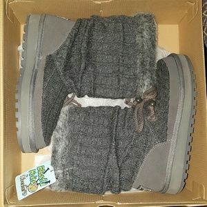 Skechers gray knit boots