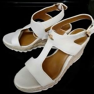 Coach Shoes - Coach Leeane Pebble chalk  Leather Wedge Sandals