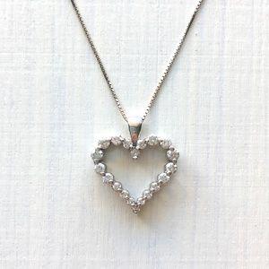 Zales Jewelry - Zale's 1/2 CT Diamond 💗 14K White Gold Necklace